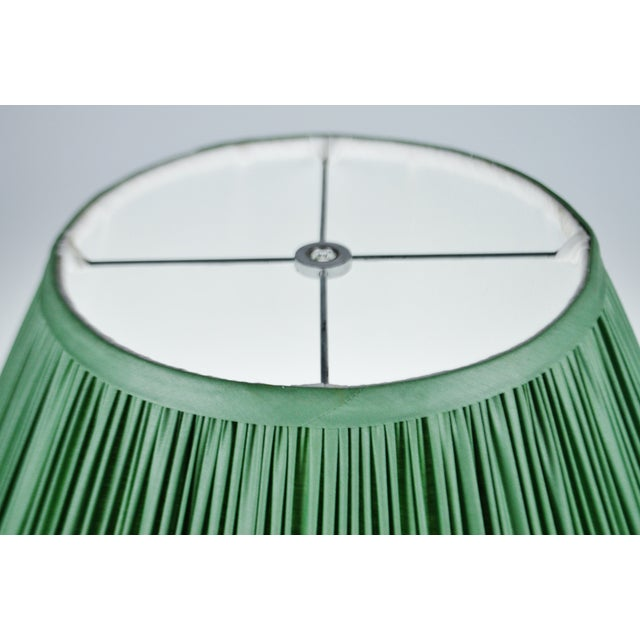 Late 20th Century Vintage Green Pleated Fabric Lined Coolie Style Lamp Shade For Sale - Image 5 of 13