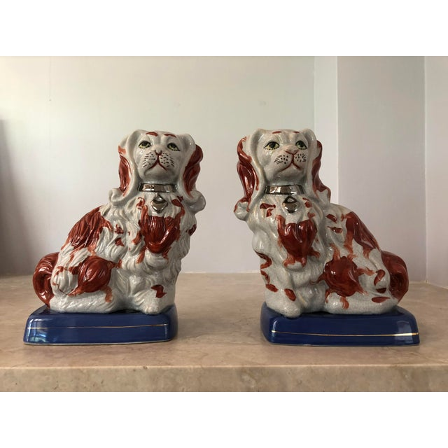 Ceramic Pair of Staffordshire Dogs For Sale - Image 7 of 7