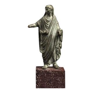 Roman Bronze Sculpture of Augustus as a Priest For Sale