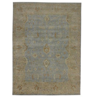 Modern Oushak Style Rug With Coastal Colors - 10′ × 14′ For Sale