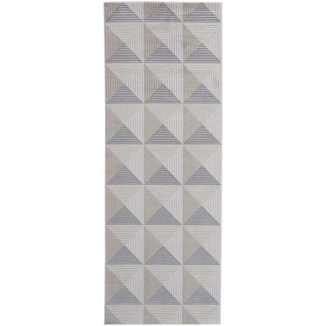 Textile Micah Architectural Inspired Rug, Silver/Bone, 2ft - 10in x 7ft - 10in, Runner For Sale - Image 7 of 7