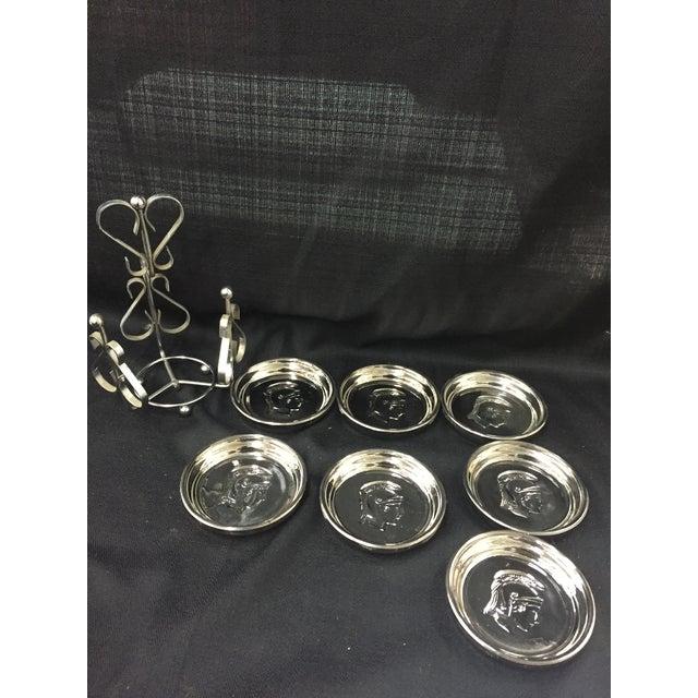 Mid-Century Mercury Glass Centurion Coasters For Sale - Image 5 of 5