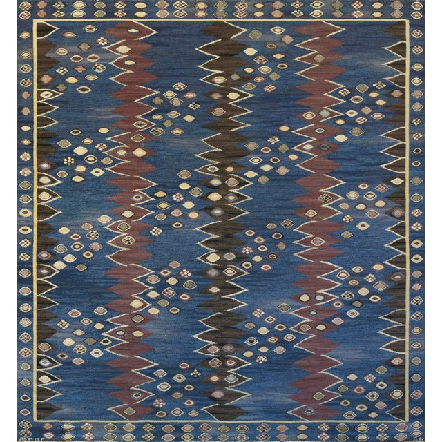 Blue Mid-Century Handwoven Signed Swedish Wool Rug For Sale - Image 8 of 8