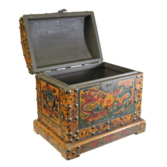 2010s Chinese Distressed Yellow Red Dragon Graphic Trunk Box Chest For Sale - Image 5 of 9
