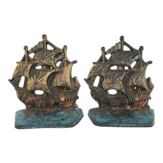 Antique Cast Iron Ship Bookends For Sale