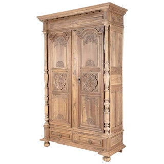 19th Century French Louis XIII Style Bleached Walnut Armoire For Sale