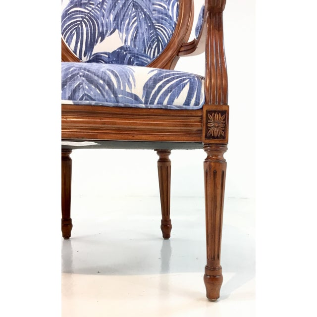 Traditional Port 68 French Style Blue Palm Print Avery Arm Chair For Sale - Image 3 of 7
