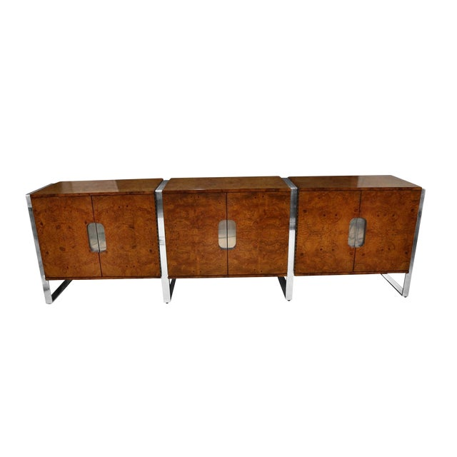 Mid Century Burl Walnut Brushed Chrome Sideboard Buffet Pace Collection For Sale