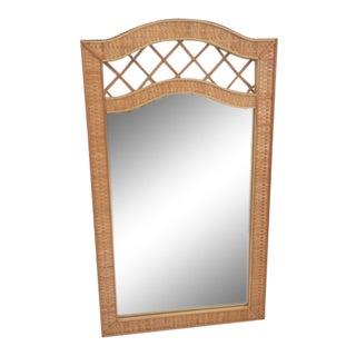 Boho Chic Rattan Wall Mirror For Sale