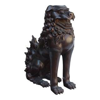 Chinese Oriental Bronze Metal Fengshui Foo Dog Lion Display Figure For Sale