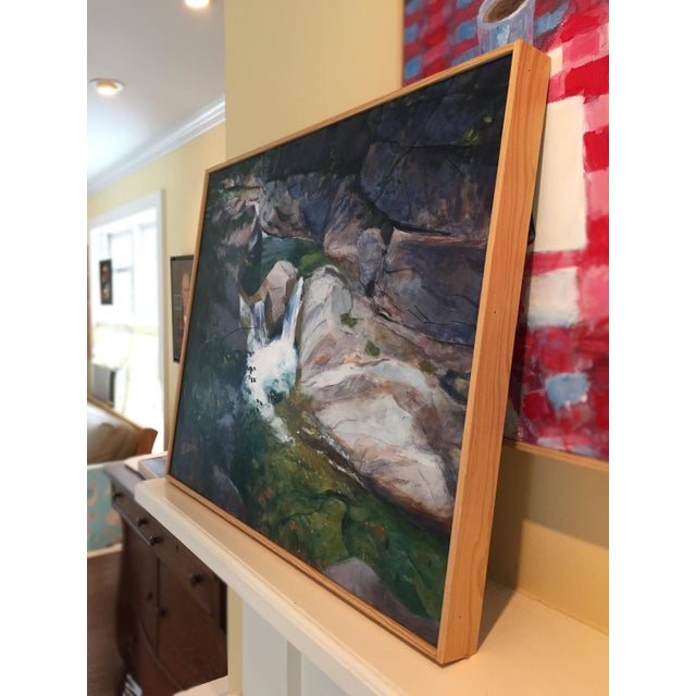 """Blue Stephen Remick """"Vermont Waterfall, Warren Falls"""" Contemporary Painting For Sale - Image 8 of 11"""