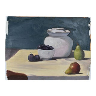 "Original Clair Seglem Still Life Fruit Painting of Fruit on Table - 13"" X 17.5"" For Sale"