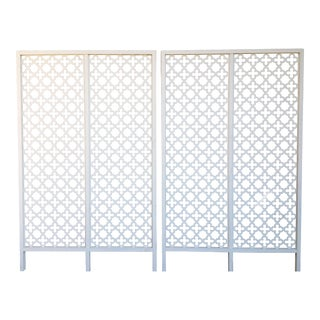 Mid-Century Modern Geometric White Wood Room Dividers - a Pair