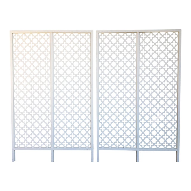 Mid-Century Modern Geometric White Wood Room Dividers - a Pair For Sale