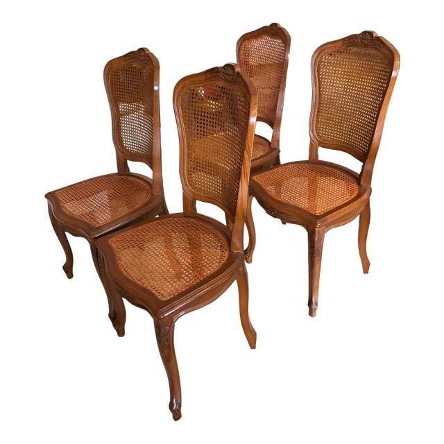 1950s Vintage Classic French Style Caned and Wood Side Dining Chairs- Set of 4 For Sale