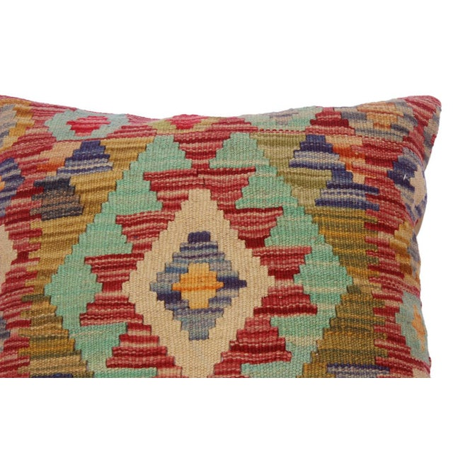"""Asian Cheryll Rust/Ivory Hand-Woven Kilim Throw Pillow(18""""x18"""") For Sale - Image 3 of 6"""
