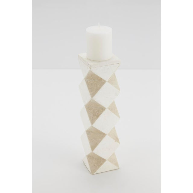 1990s 1990s Convertible Faceted Postmodern Tessellated Stone Candlestick or Vase For Sale - Image 5 of 8