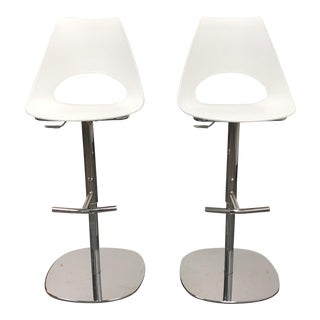 Contemporary Bontempi Chrome and White Plastic Shark Bar Stools - a Pair