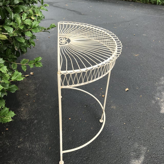 Fun wrought iron table. Perfect for a small entryway or hallway. Original paint.