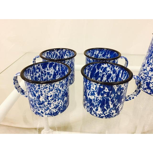 Enamel Blue & White Paint Splattered Enamel 5-Piece Tea Set For Sale - Image 7 of 11