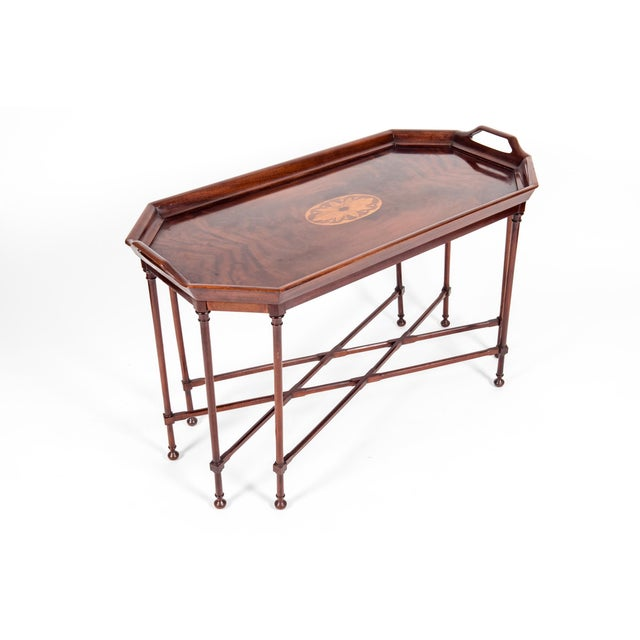 Mahogany Mahogany Wood Tray Table With Side Handles For Sale - Image 7 of 13