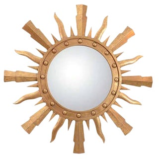 1980s Gilt Metal Sunburst Mirror For Sale