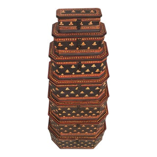 19th Century Folk Art Handmade Octagonal Nesting Boxes - Set of 7 For Sale