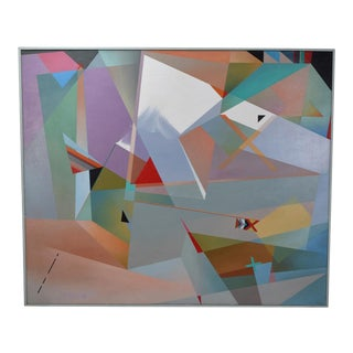 Geometric Abstract Oil Painting Dina Herrmann New York Artist, 1980s