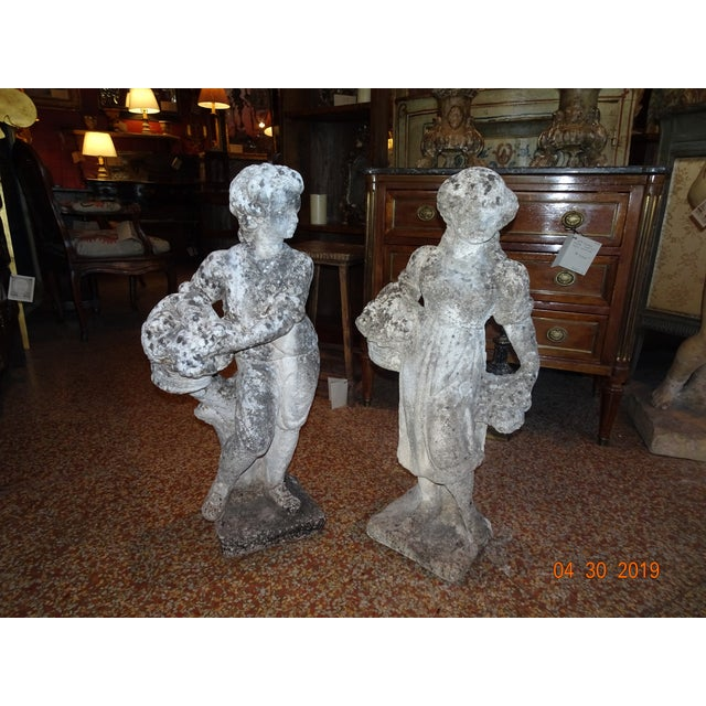 Pair of Vintage French Stone Statues For Sale - Image 13 of 13