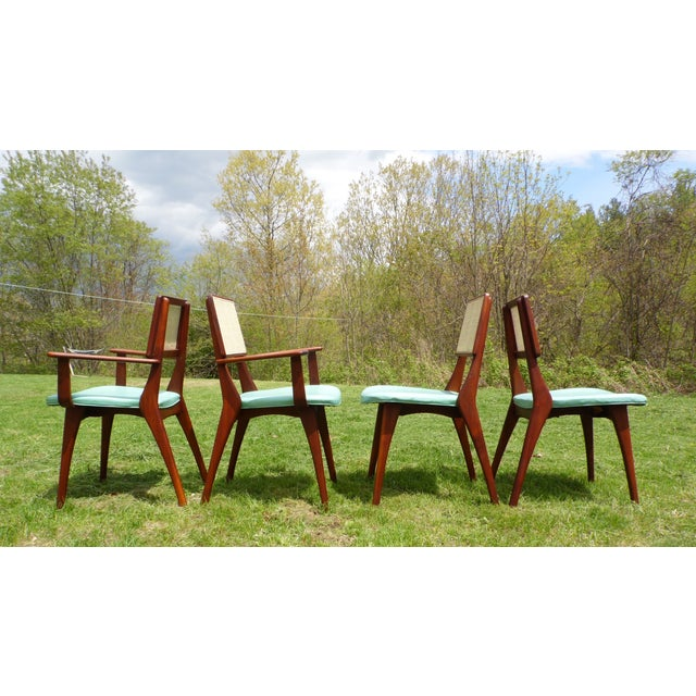 Vintage set of 4 Mid-Century Modern walnut & cane dining chairs by Westchester Designs, Inc of Mt. Vernon NY. Includes 2...