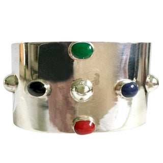20th Century Taxco 925 Sterling & Semi Precious Stone Cuff Bracelet-Mexico For Sale