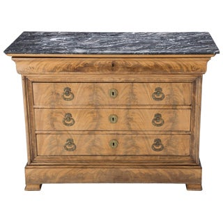 Louis Philippe French Mahogany and Black Marble Commode Chest For Sale