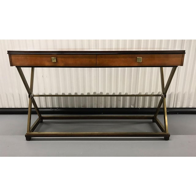 Handsome burl wood veneer console with metal x-base by Hickory-White, circa 1990s. Metal base has brass and stainless...