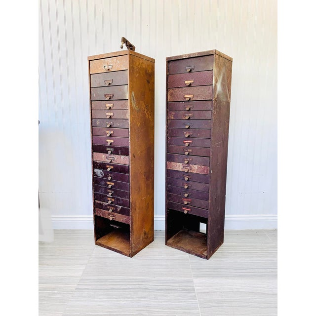 Industrial Metal Watchmaker/Jeweler Parts Cabinets - a Pair For Sale - Image 13 of 13