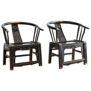 Pair of Qing Dynasty Lacquered Horseshoe Armchairs For Sale
