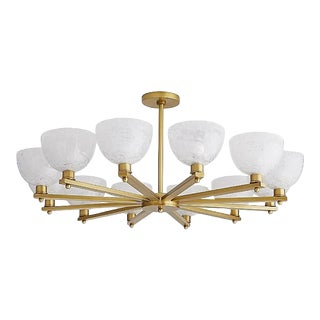 Contemporary Circular Opal Art Glass Silas Chandelier For Sale
