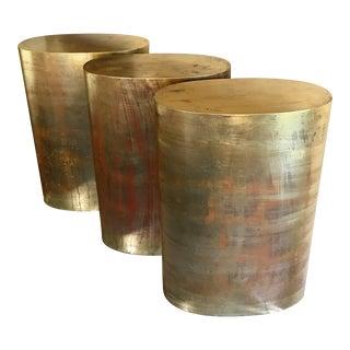 Trio of Vintage Gold Leafed Wood Oval Pedestal Stands For Sale