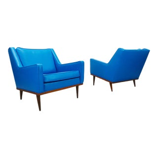 Milo Baughman James Inc. Mid Century Modern Blue Leatherette Lounge Chairs - a Pair For Sale