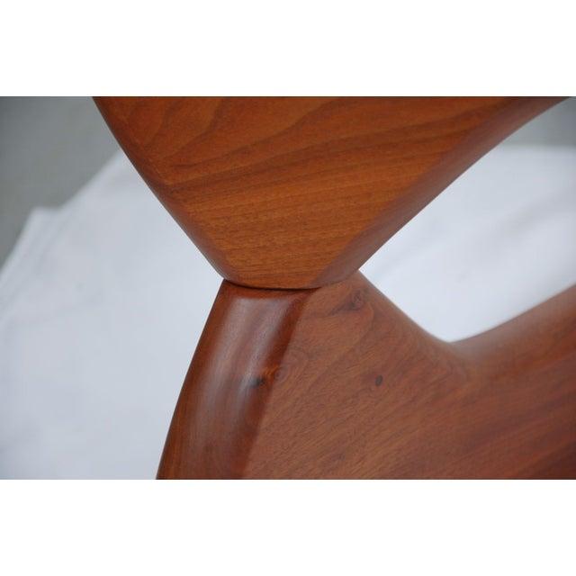 Noguchi Style Walnut & Glass Coffee Table - Image 5 of 7