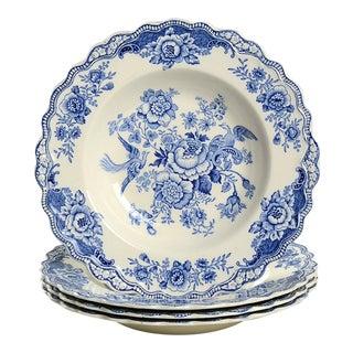 Crown Ducal Bristol Blue Large Rim Bowl - Set of 4 For Sale