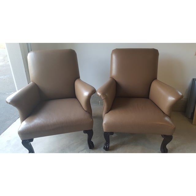 Michael Taylor Wing Arm Leather Chairs - A Pair - Image 2 of 5
