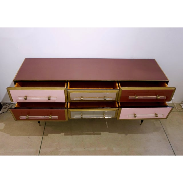 1960 Italian Vintage Rose Pink Gray Wine Gold 6 Drawers Sideboard / Console For Sale - Image 9 of 13