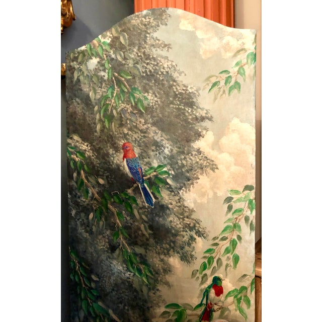 Italian Birds in the Forest Watercolor Painted Panels - Set of 2 For Sale In West Palm - Image 6 of 13