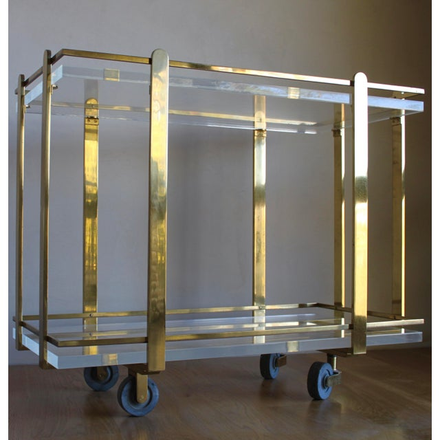Art Deco Extremely Rare Karl Springer Custom Ordered Mid Century Modern Heavy Brass and Lucite Bar Serving Cart Table For Sale - Image 3 of 12