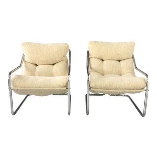 1970's Mod Chrome & Oatmeal White Sling Chairs - A Pair