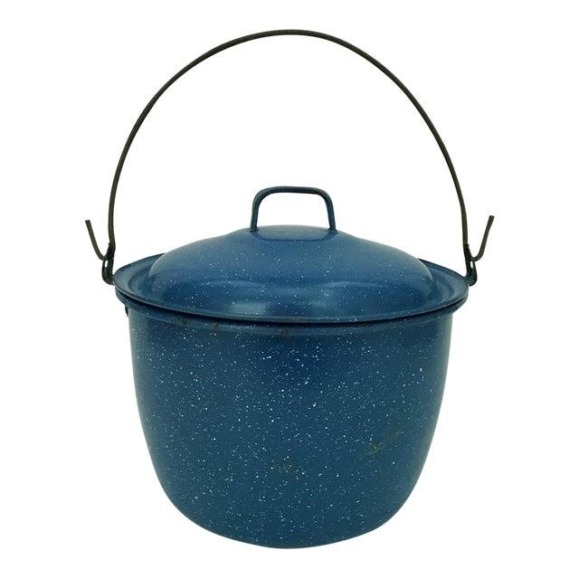1950s Vintage Blue Enamelware Pot For Sale