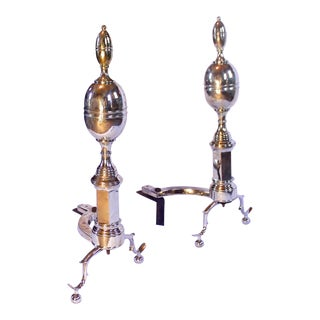 Large Federal Style Double Lemon Top Andirons - a Pair For Sale
