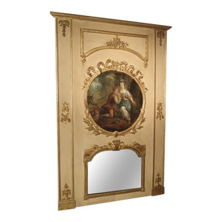 Large Painted Antique Louis XVI Style Trumeau Mirror, 19th Century For Sale