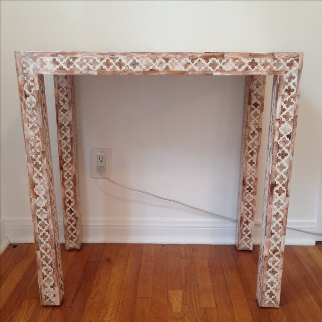 HD Buttercup Shell Inlay Trellis Console - Image 2 of 11