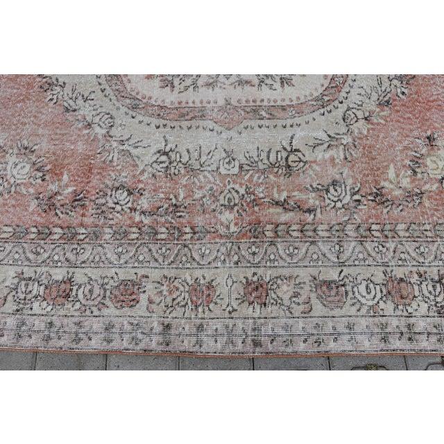 Nomadic Antique Handmade Muted Anatolian Faded Salmon Carpet - 6′9″ × 9′2″ - Image 7 of 10